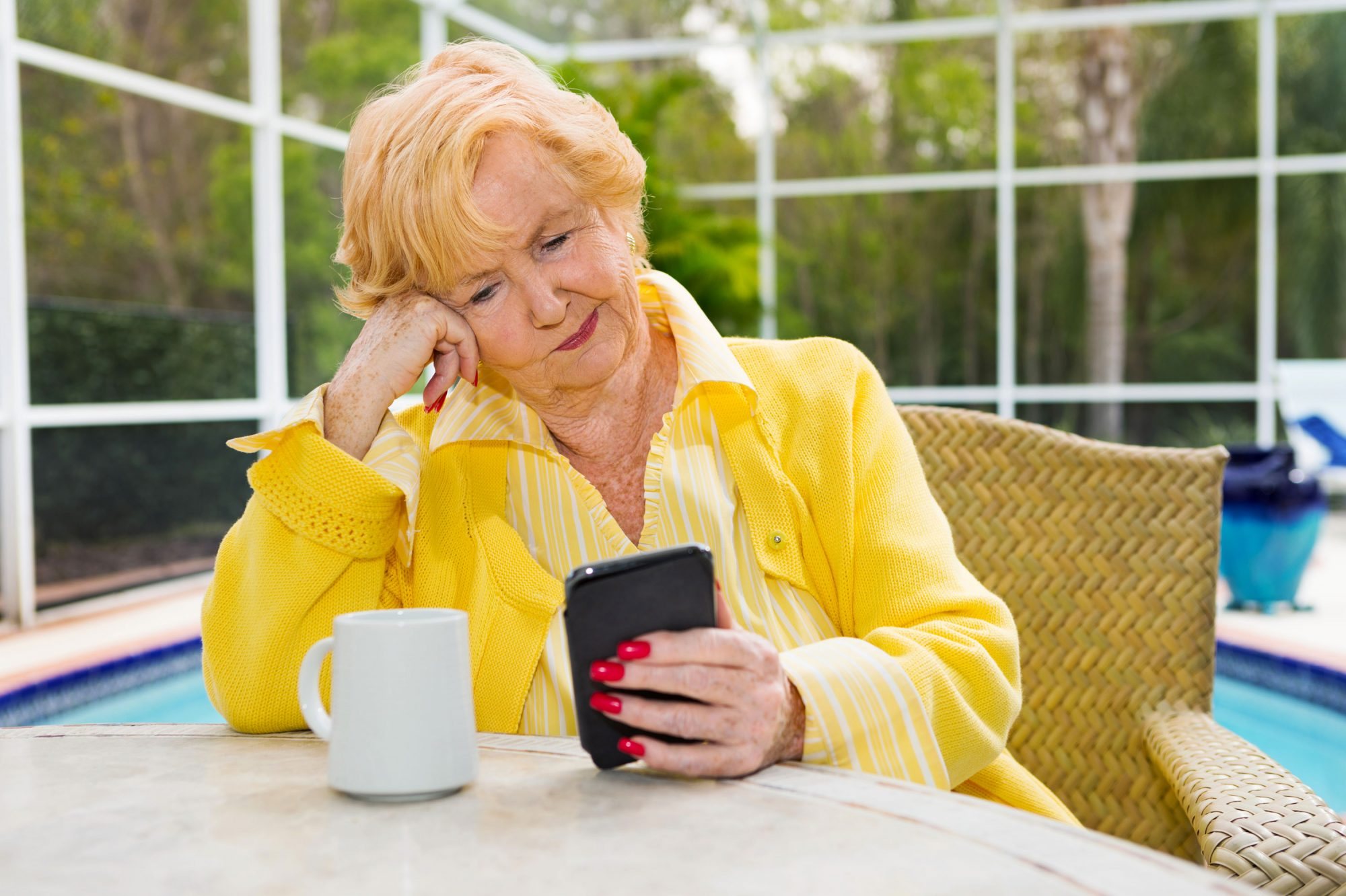 Older Woman Confused Texting