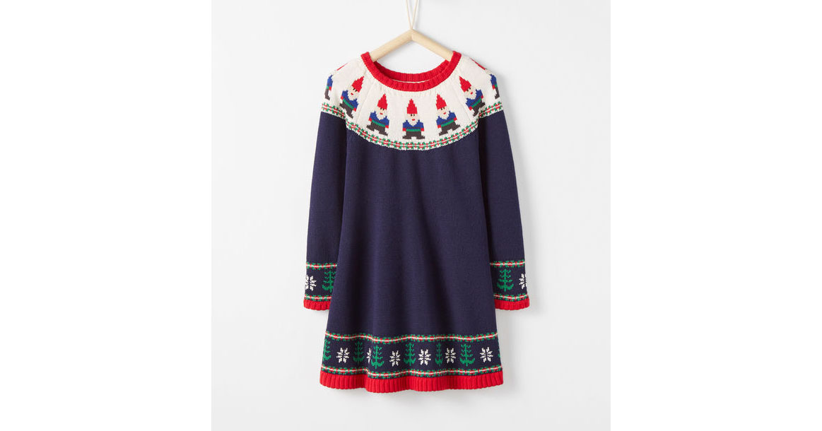 20 Christmas Dresses for Little Girls: Gnome Sweet Gnome Sweater Dress
