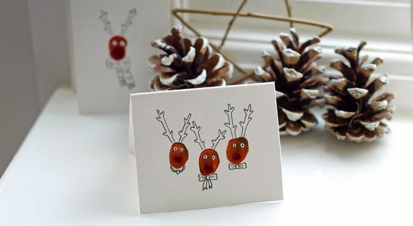 Fingerprint Reindeer Christmas Card