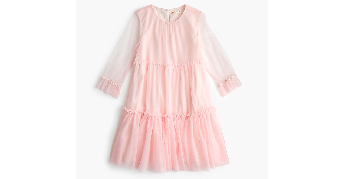 Girls' Dress with Tiered Tulle Overlay