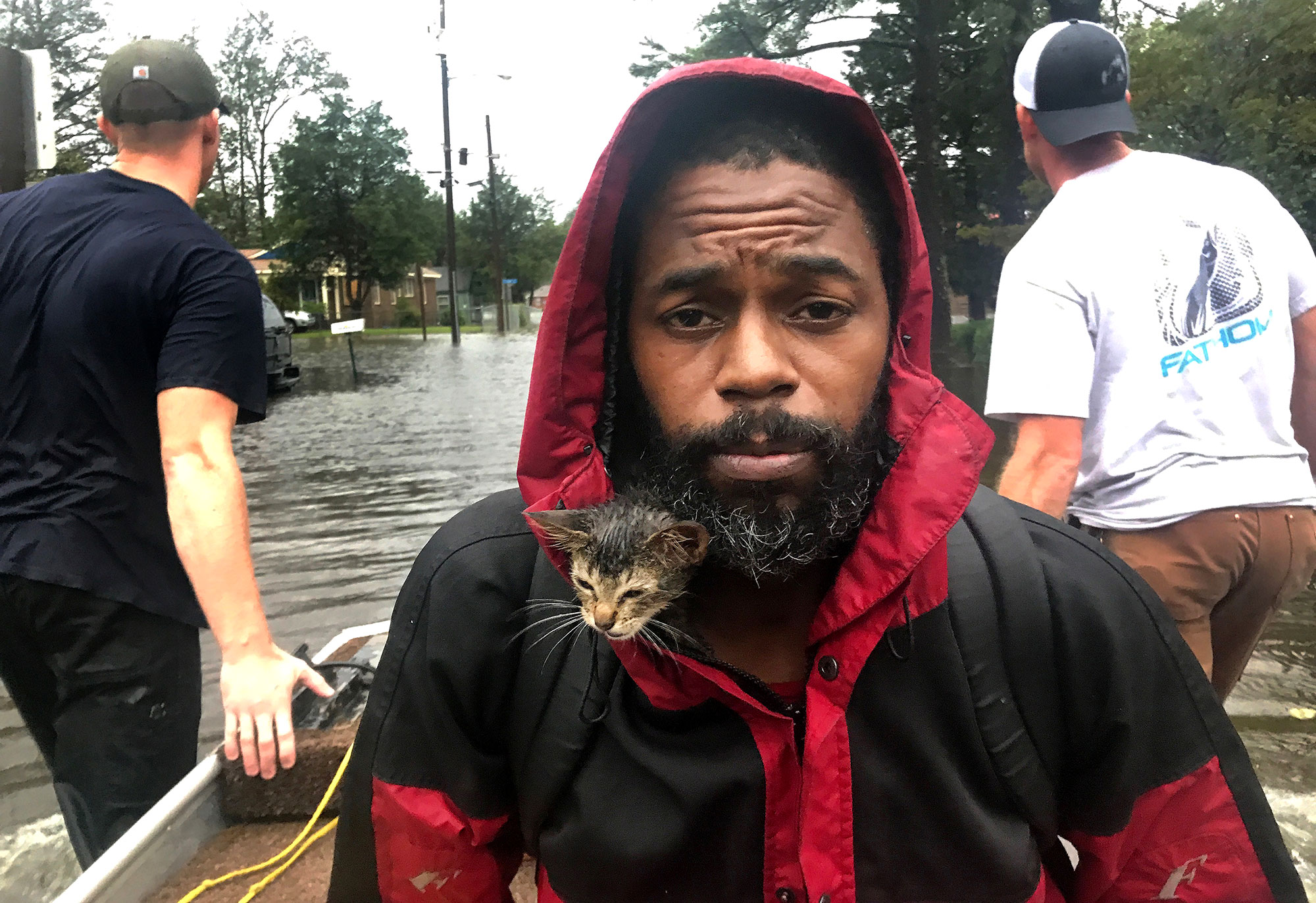 North Carolina Man & His Adorable Kitten Named 'Survivor' Rescued During Florence