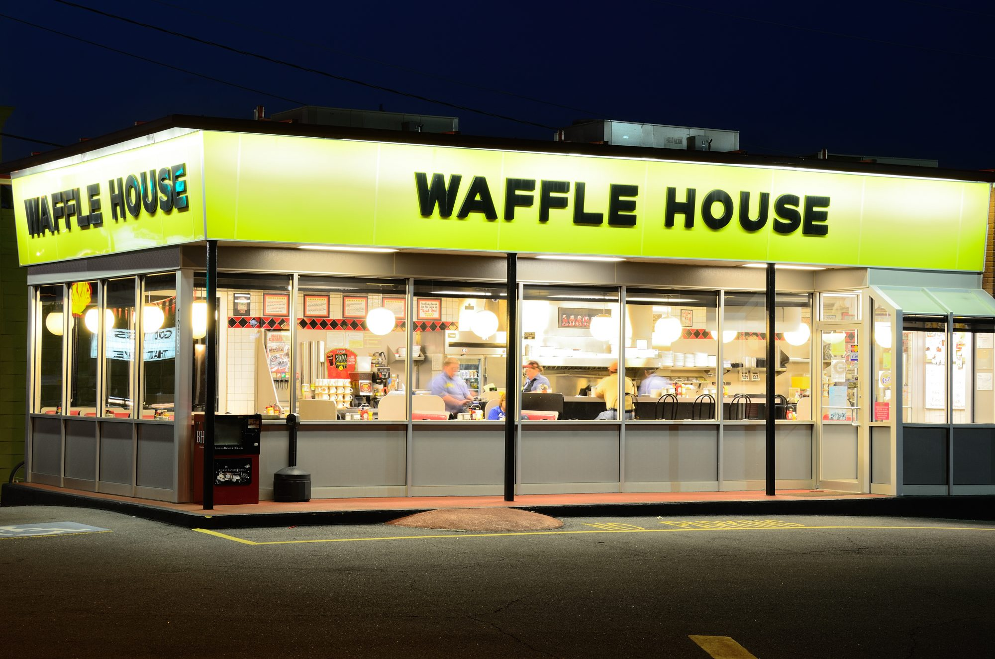 Waffle House Exterior at Night