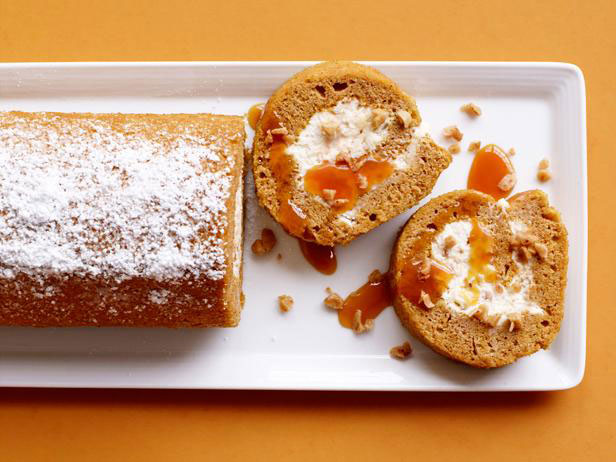 Pumpkin Roll Cake with Caramel and Toffee