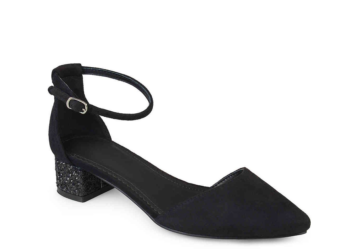 Black Mary Janes With Glitter Heels