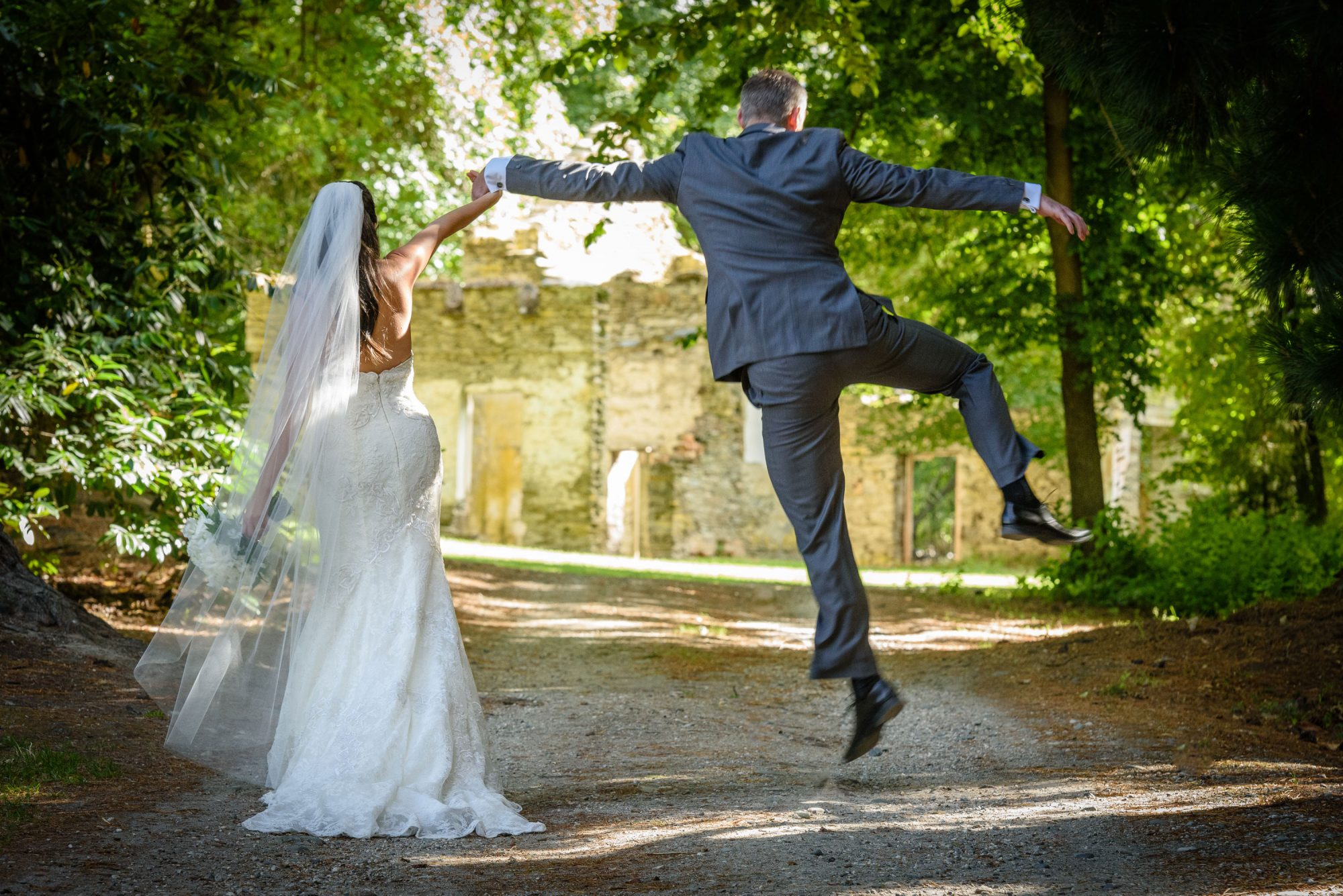 Bride with Jumping Groom