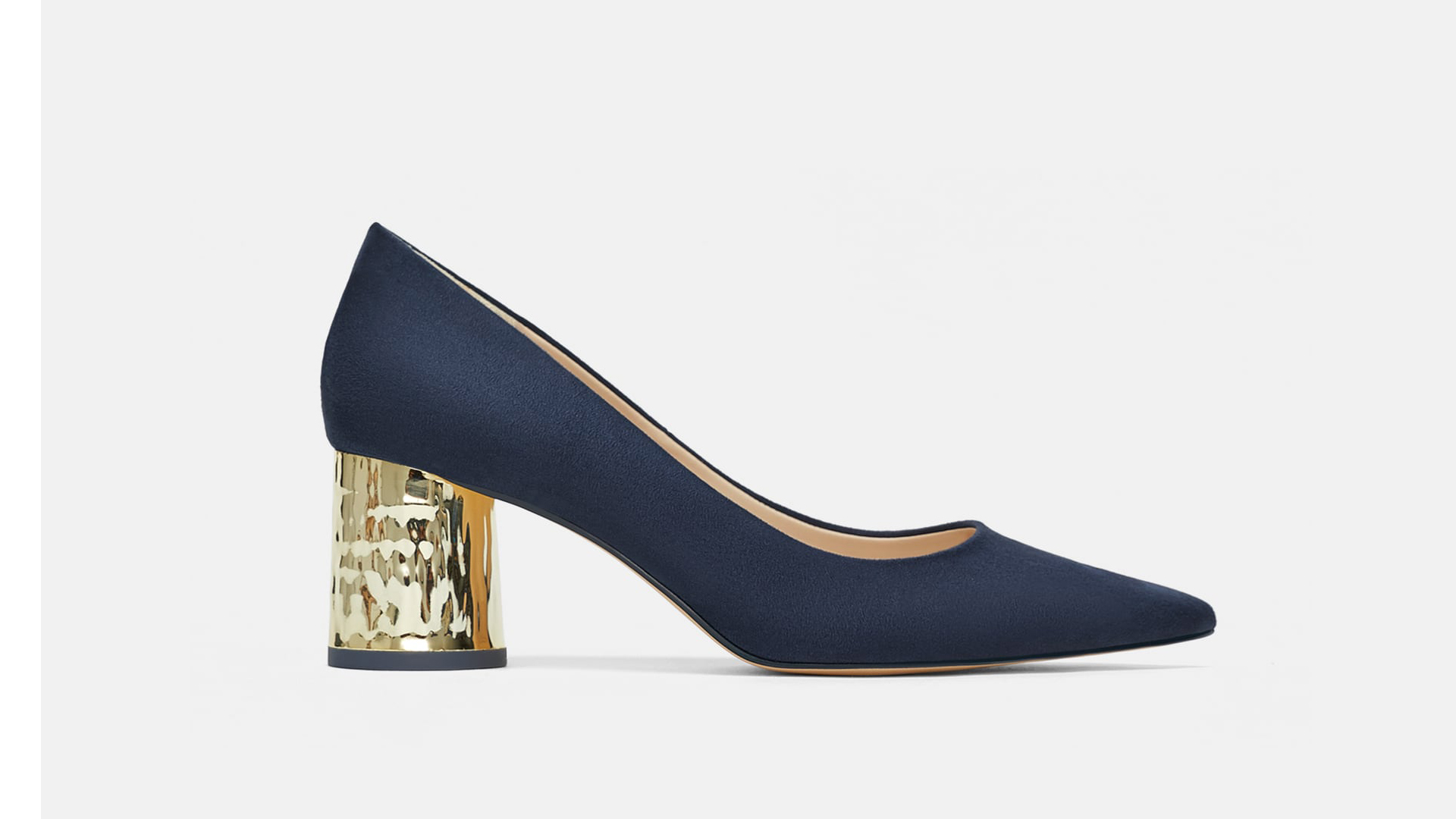 Navy and Gold Pumps