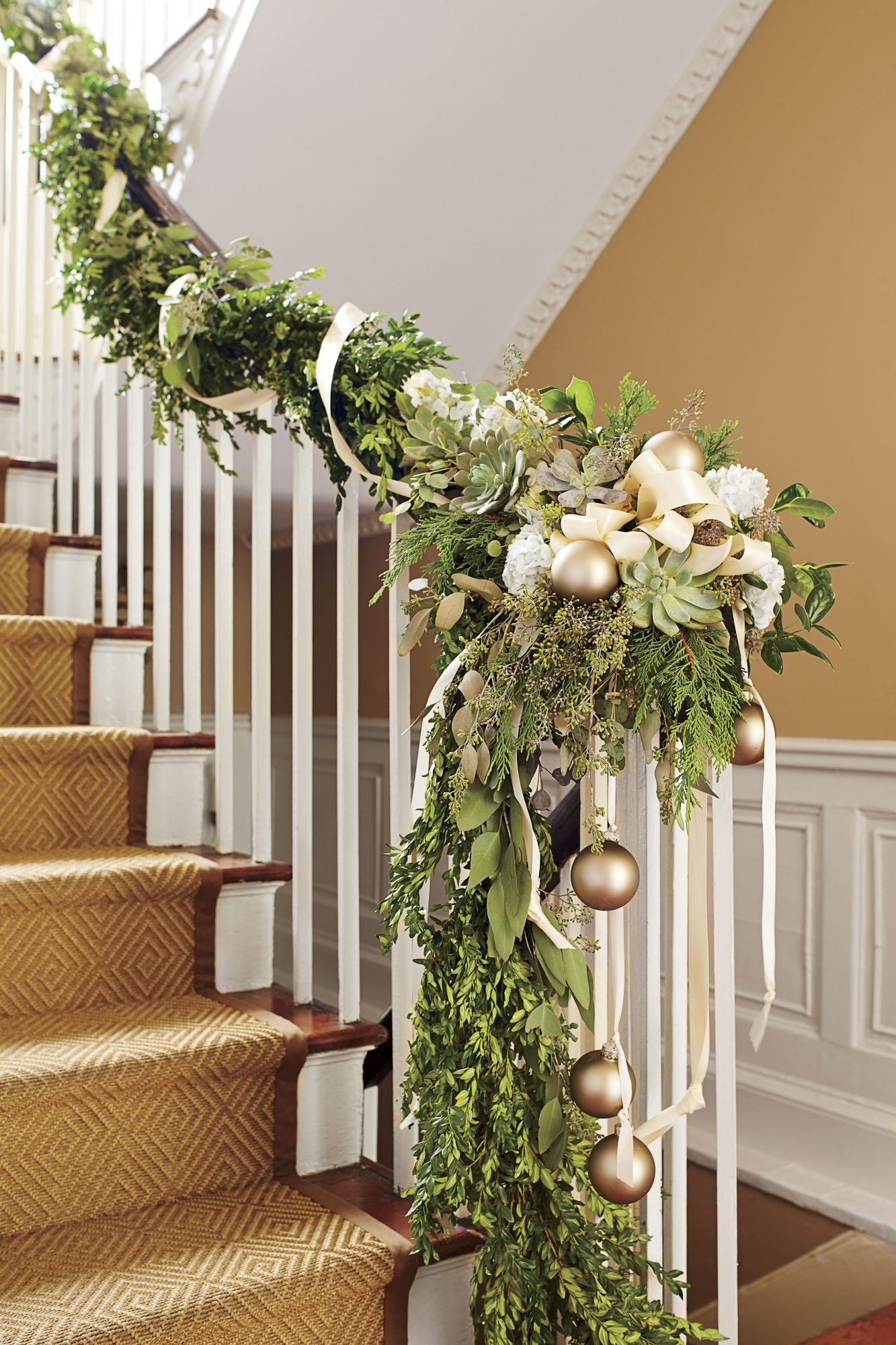 Boxwood Garland Stairs with Flowers and Ornaments