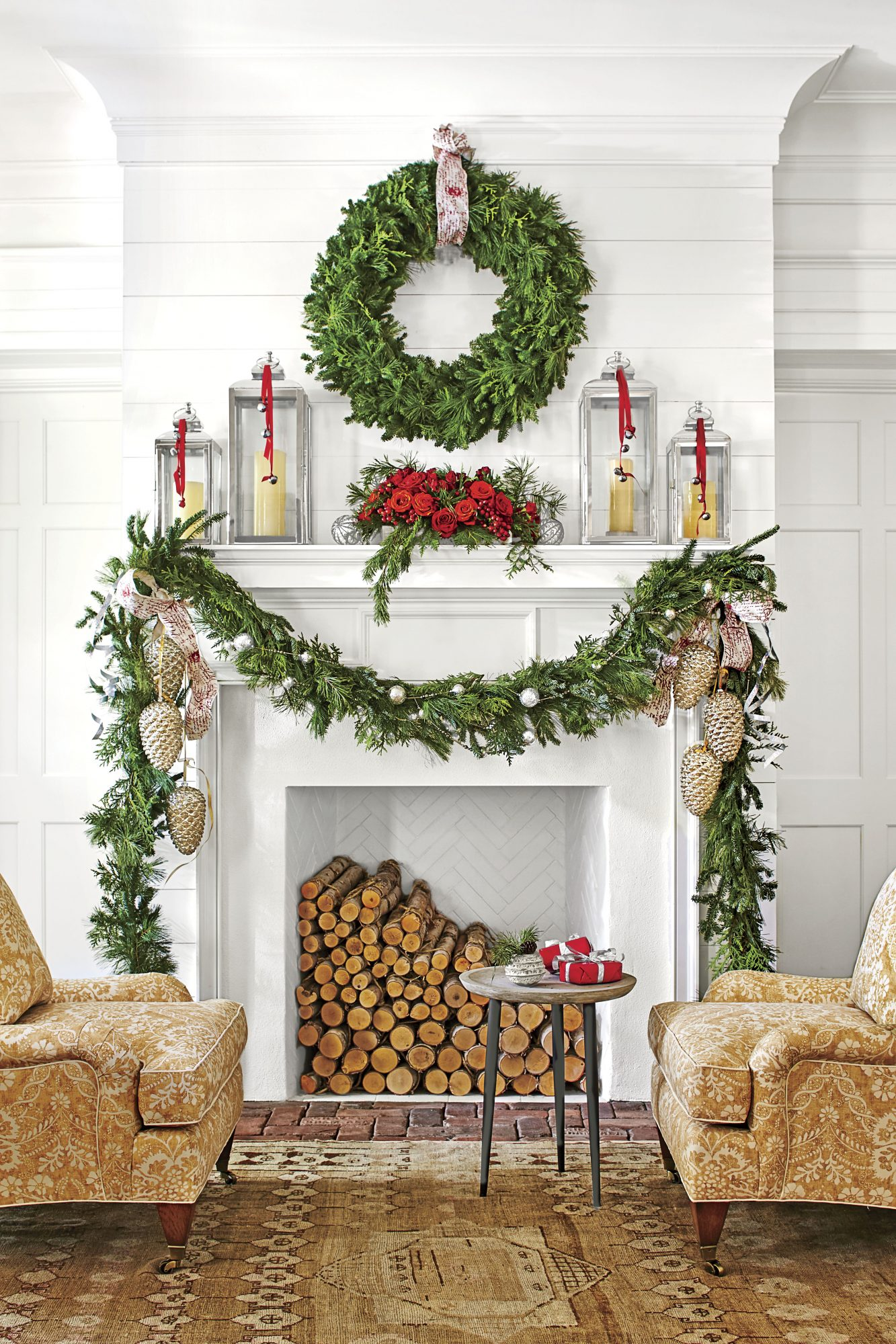 Red and Silver Greenery Display Over Mantel
