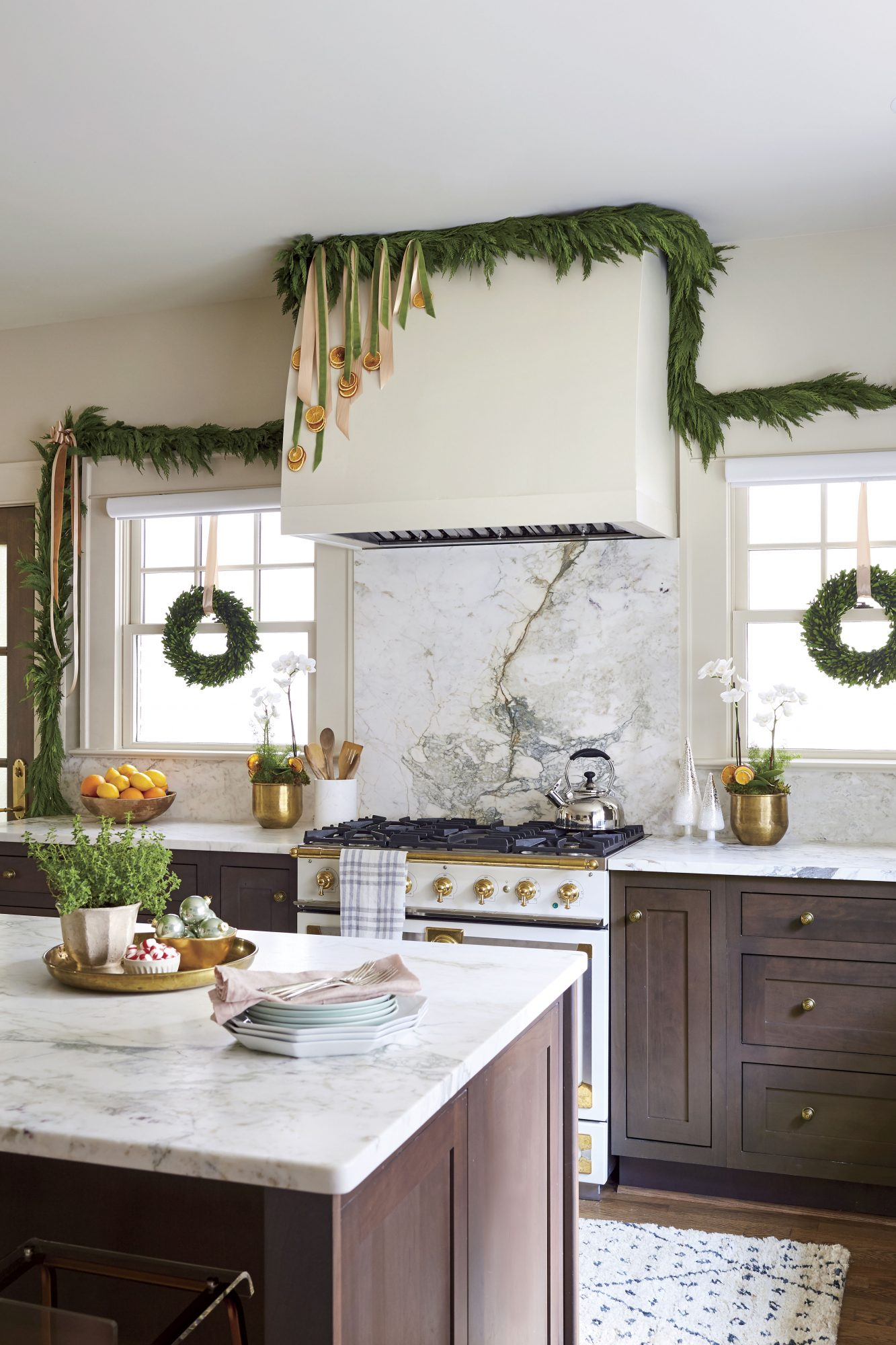 Citrus and Ribbon Garland in Kitchen