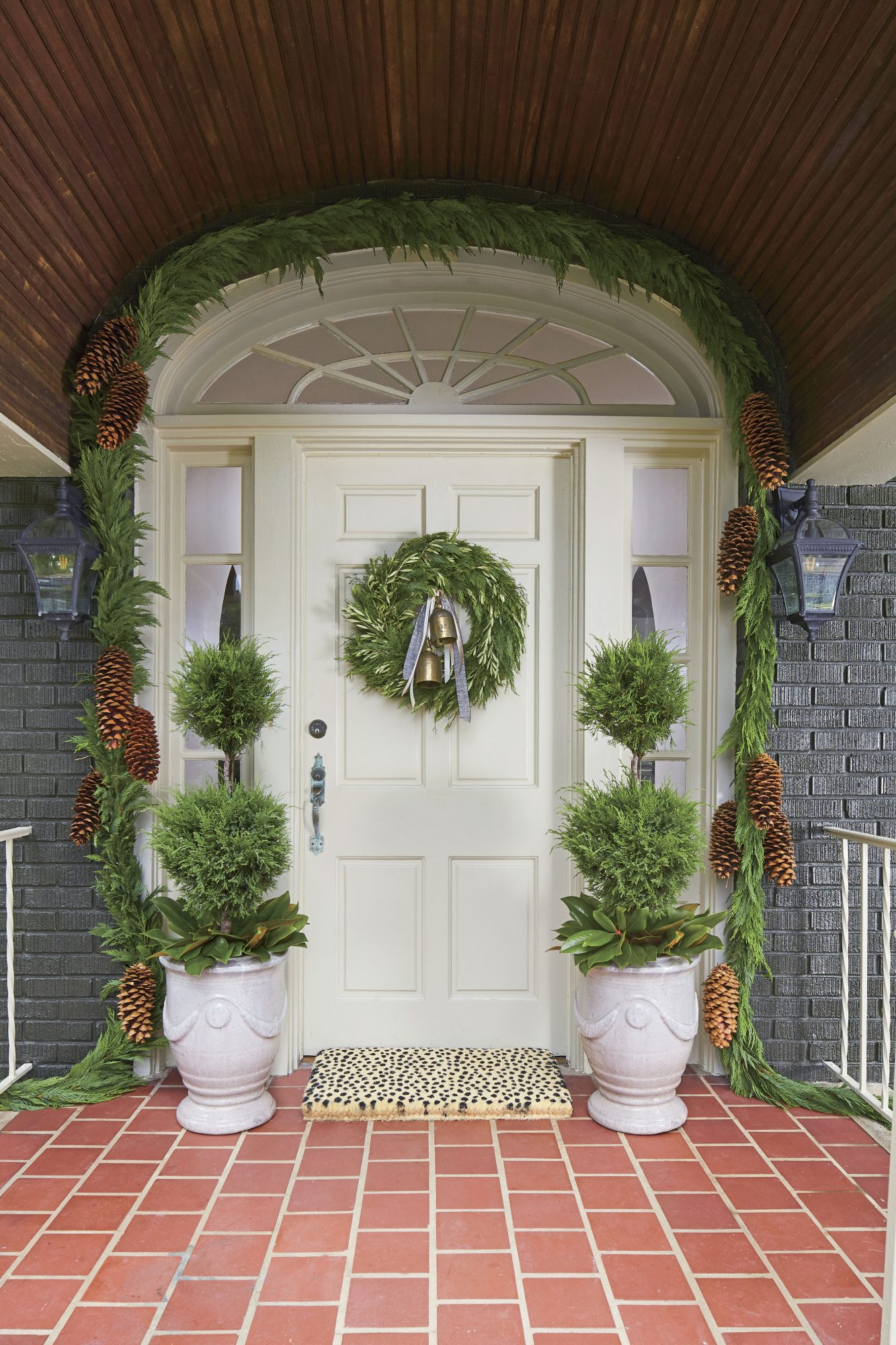 Cypress Garland Around Front Door with Bell Swag Wreath
