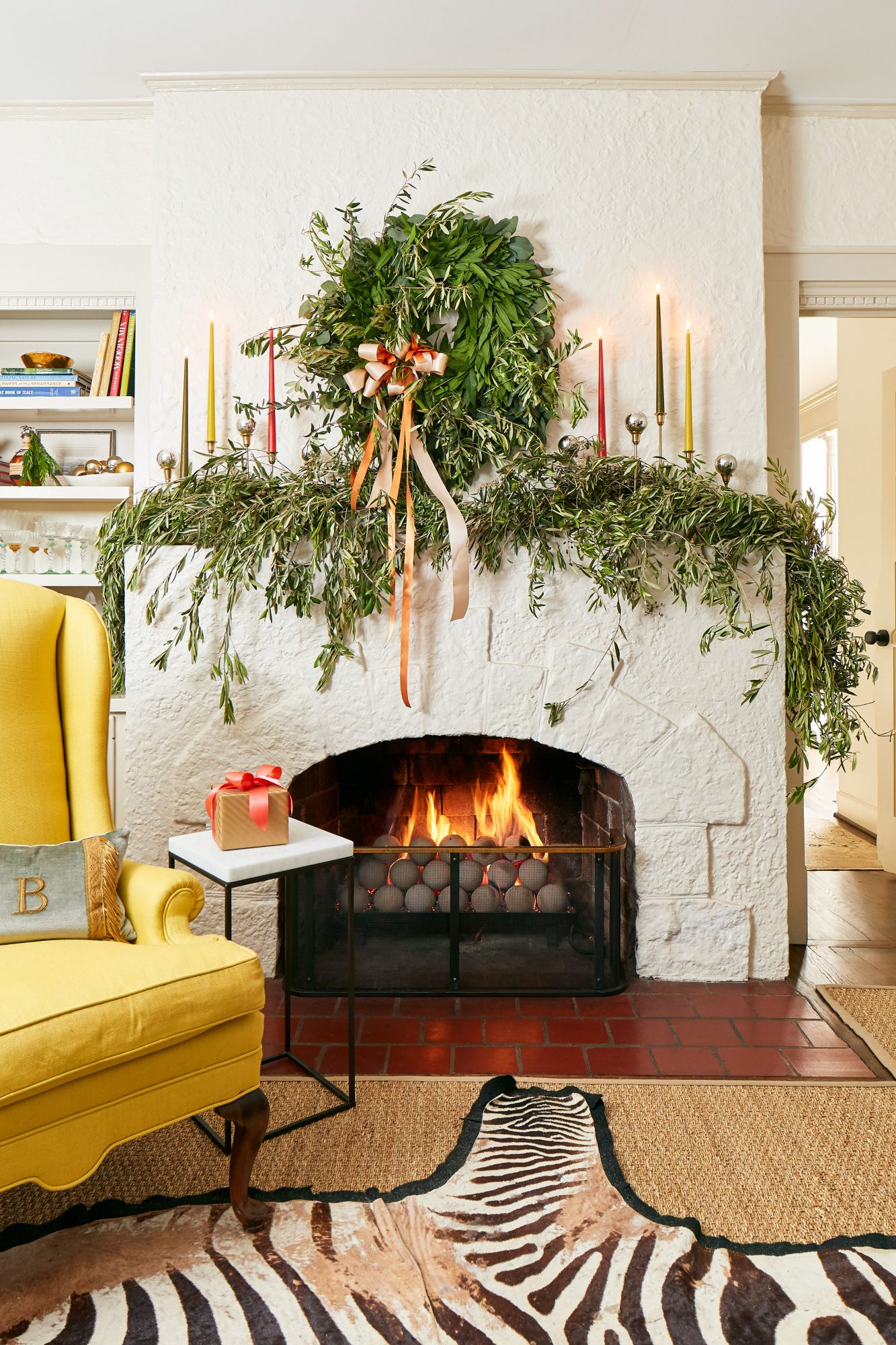 Mantel with Olive Branch, Bay Leaves, and Eucalyptus