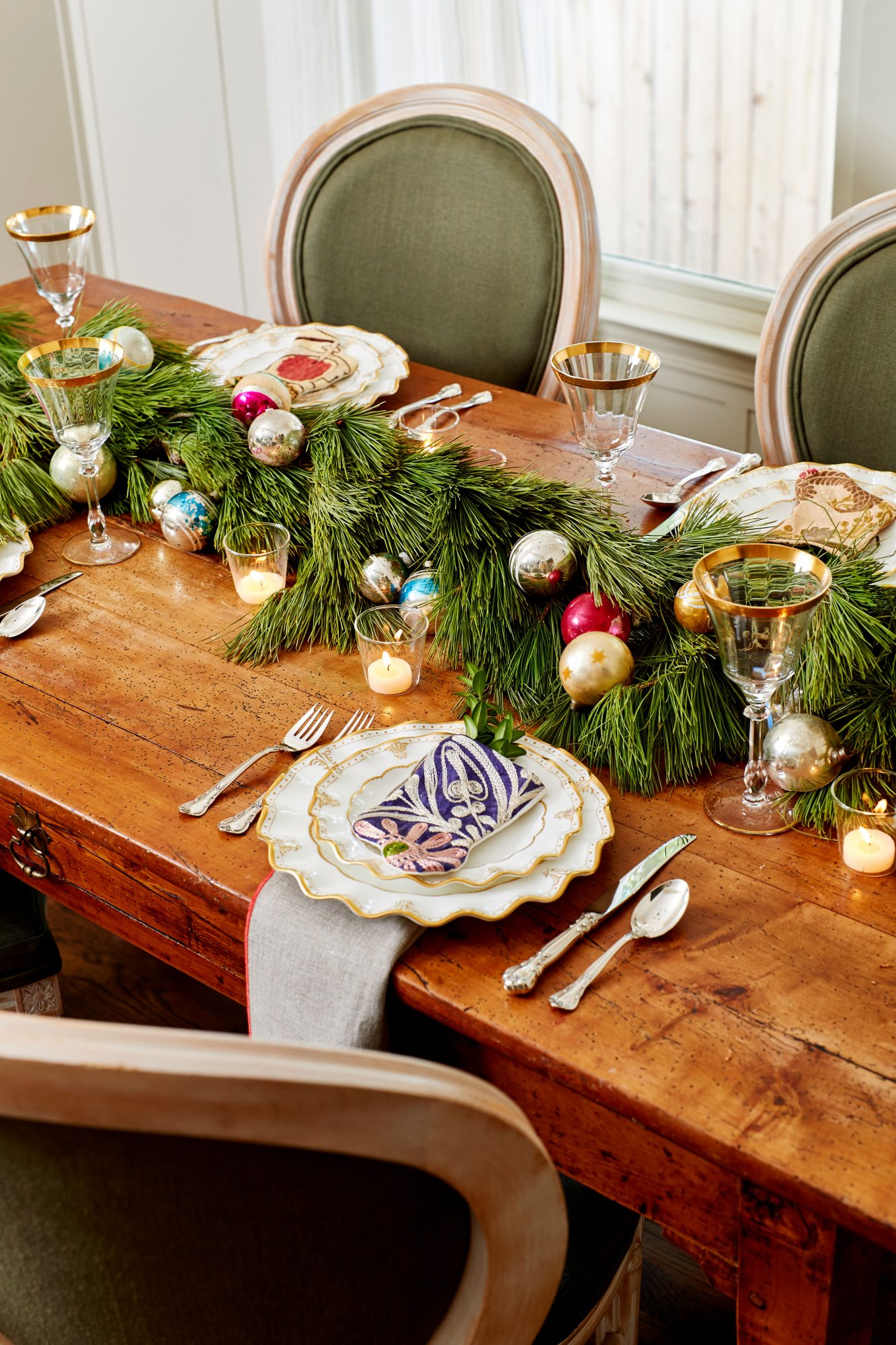 Pine Garland and Ornaments on Dining Table