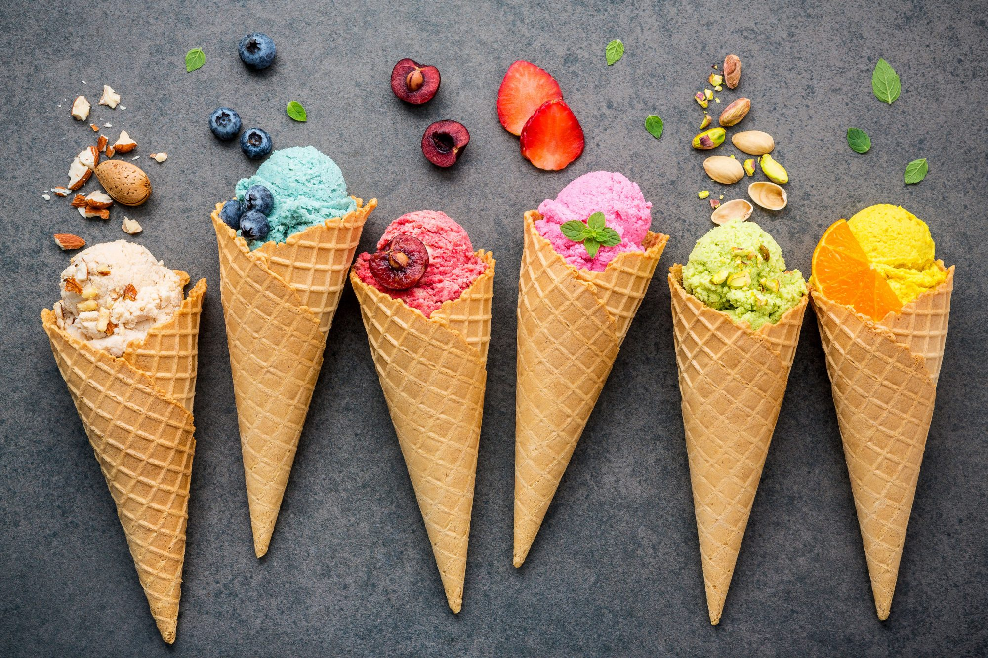 Colorful Flavored Ice Cream in Cones