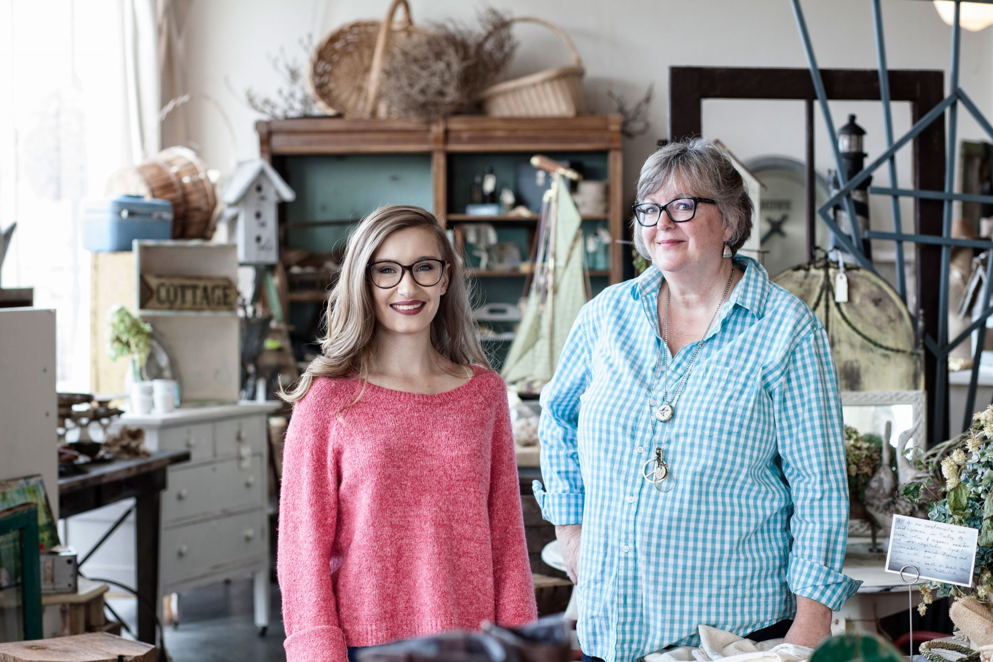 Mother and Daughter in Antique Store