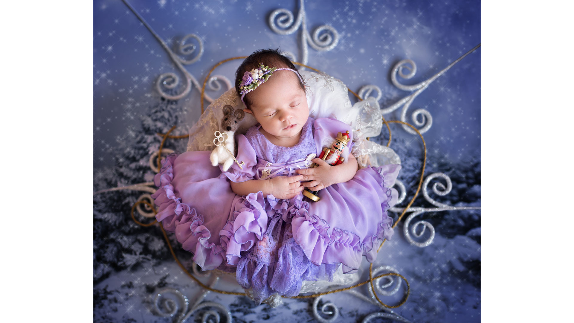 Nutcracker Baby Photoshoot Sleeping Fairy Aerial