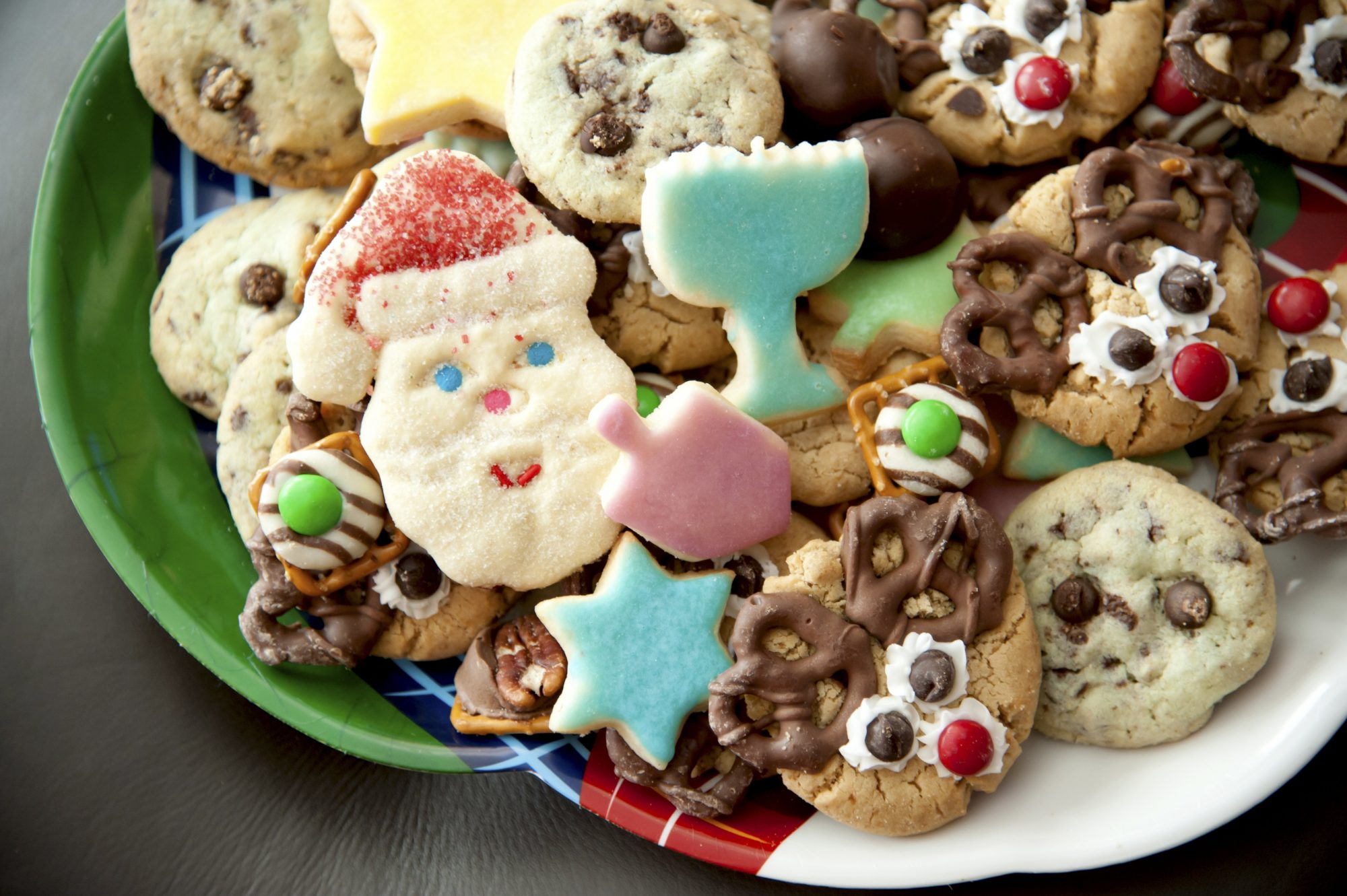 Plate of variety of holiday cookies