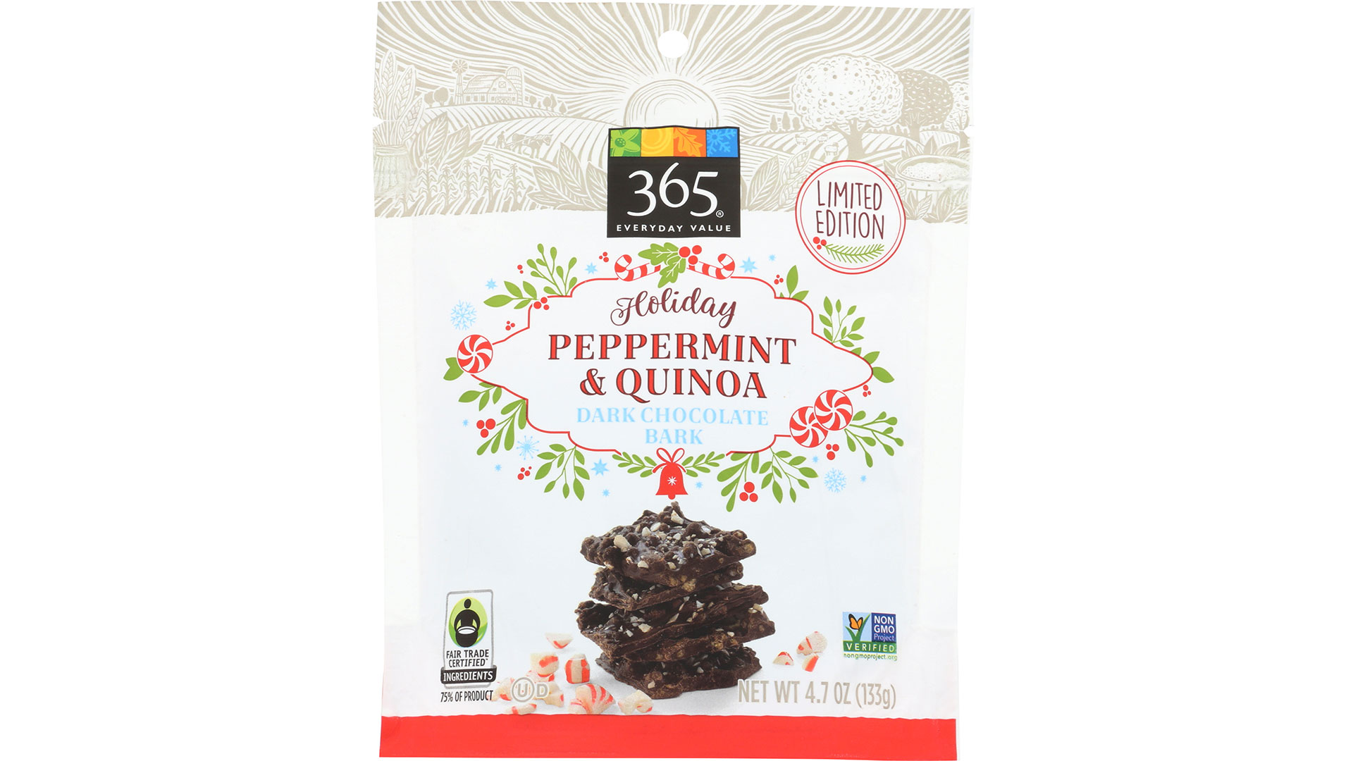 RX_1811 Whole Foods Holiday Peppermint Quinoa Dark Chocolate Bark