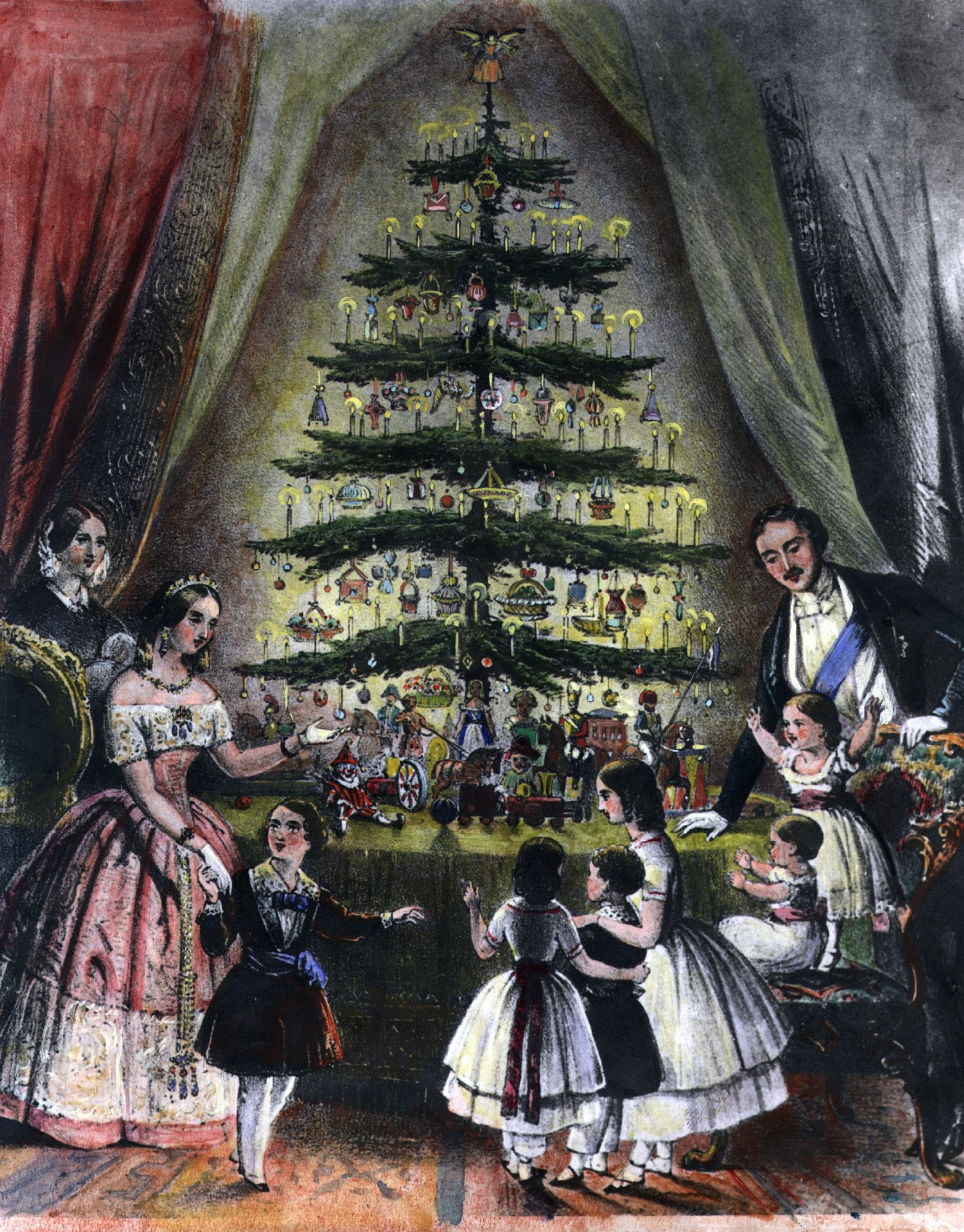 1848 Engraving Royal Family and Christmas Tree