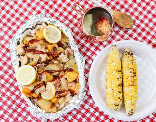BBQ Chicken + Pineapple Foil Packet Dinners