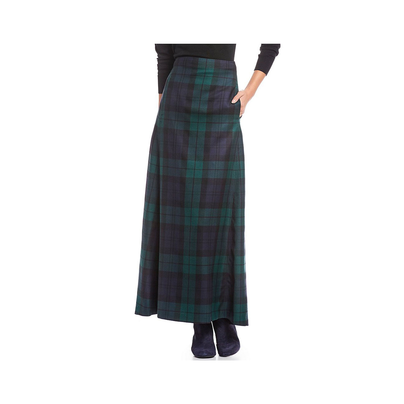 Black Watch Plaid Long A-Line Skirt