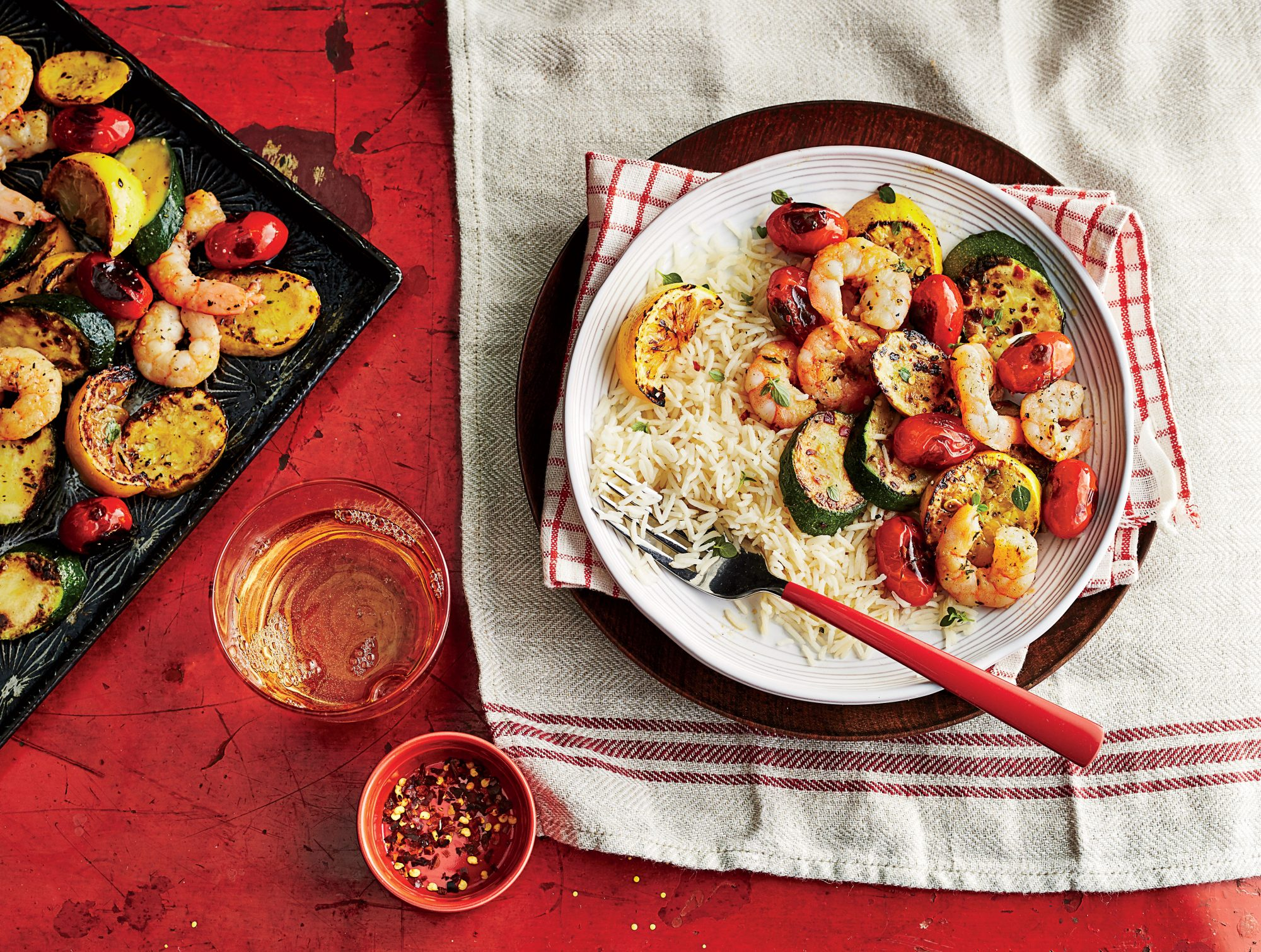 sheet pan shrimp and vegetables with rice recipe southern living