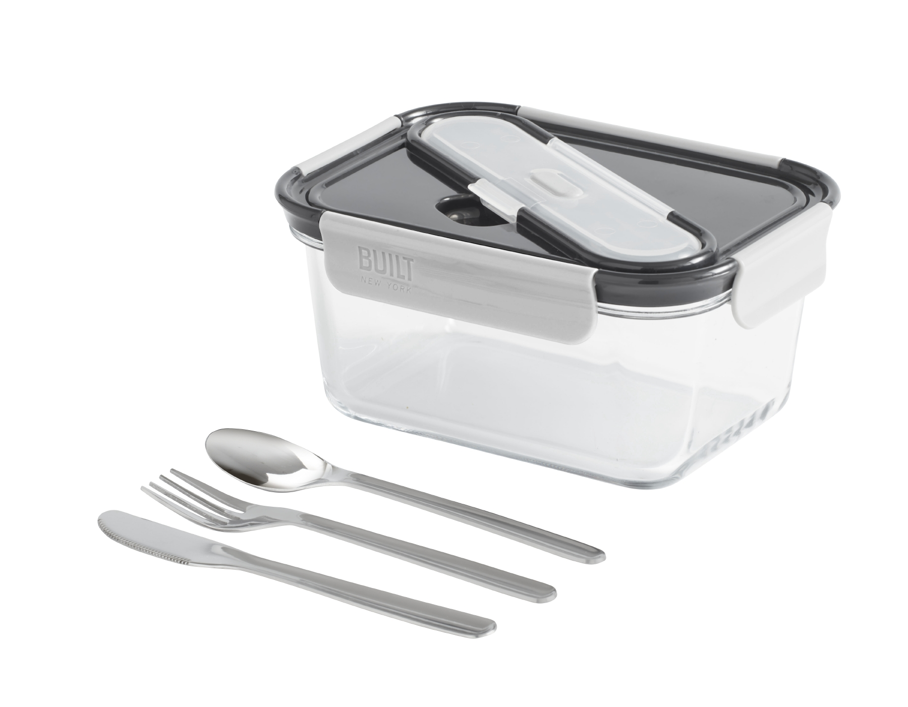 BUILT NY Gourmet Bento Box with Stainless Steel Utensils