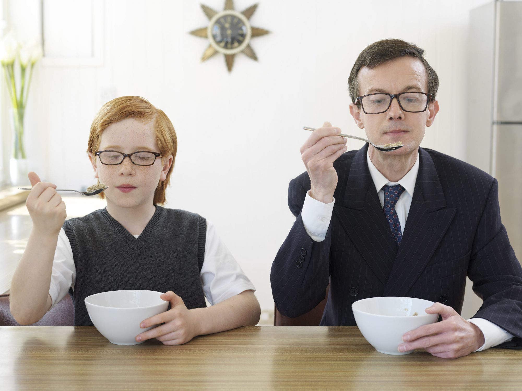 Father Son Eating Cereal