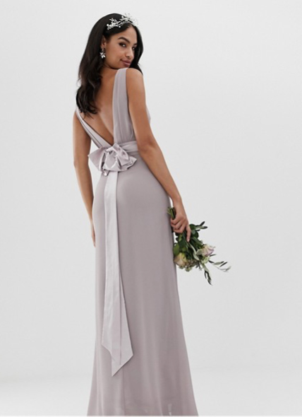 Sateen Bow Back Dress in Gray