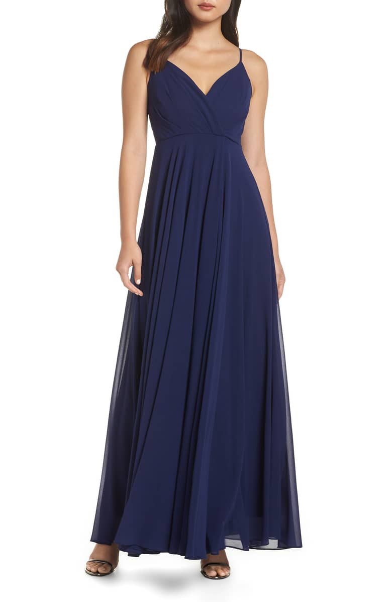 Surplice Chiffon Gown in Navy