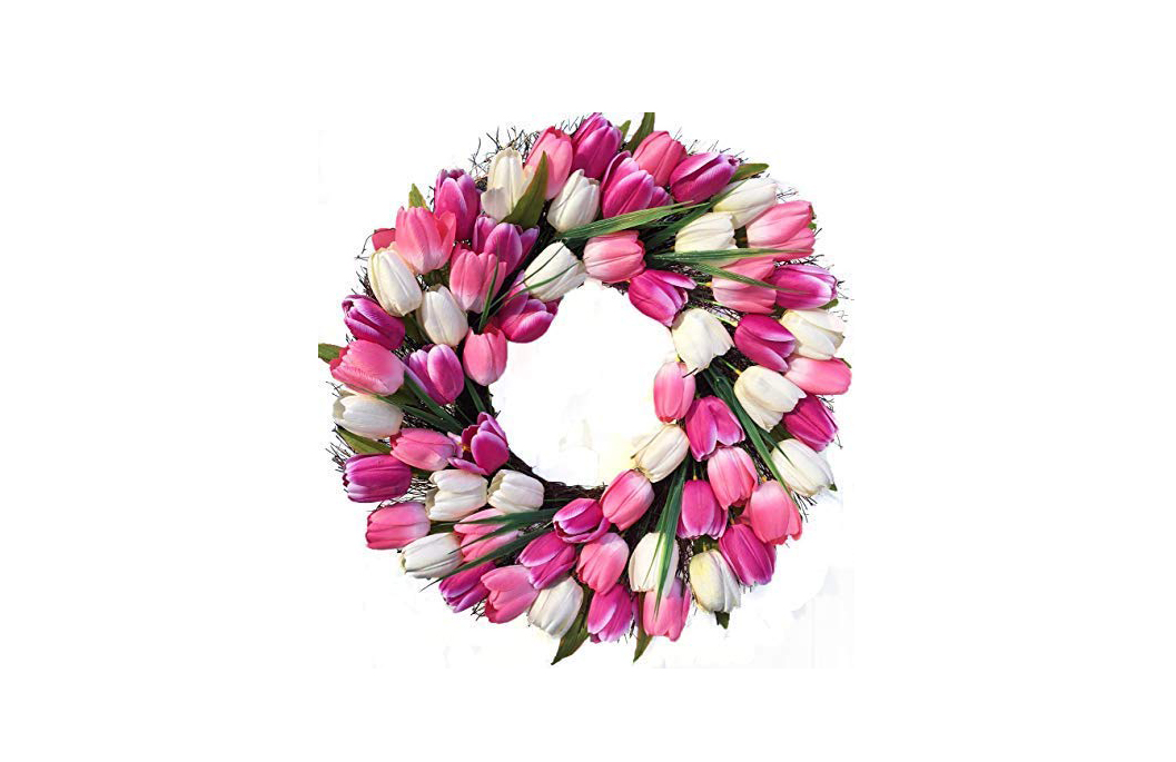 Pink and White Tulip Wreath