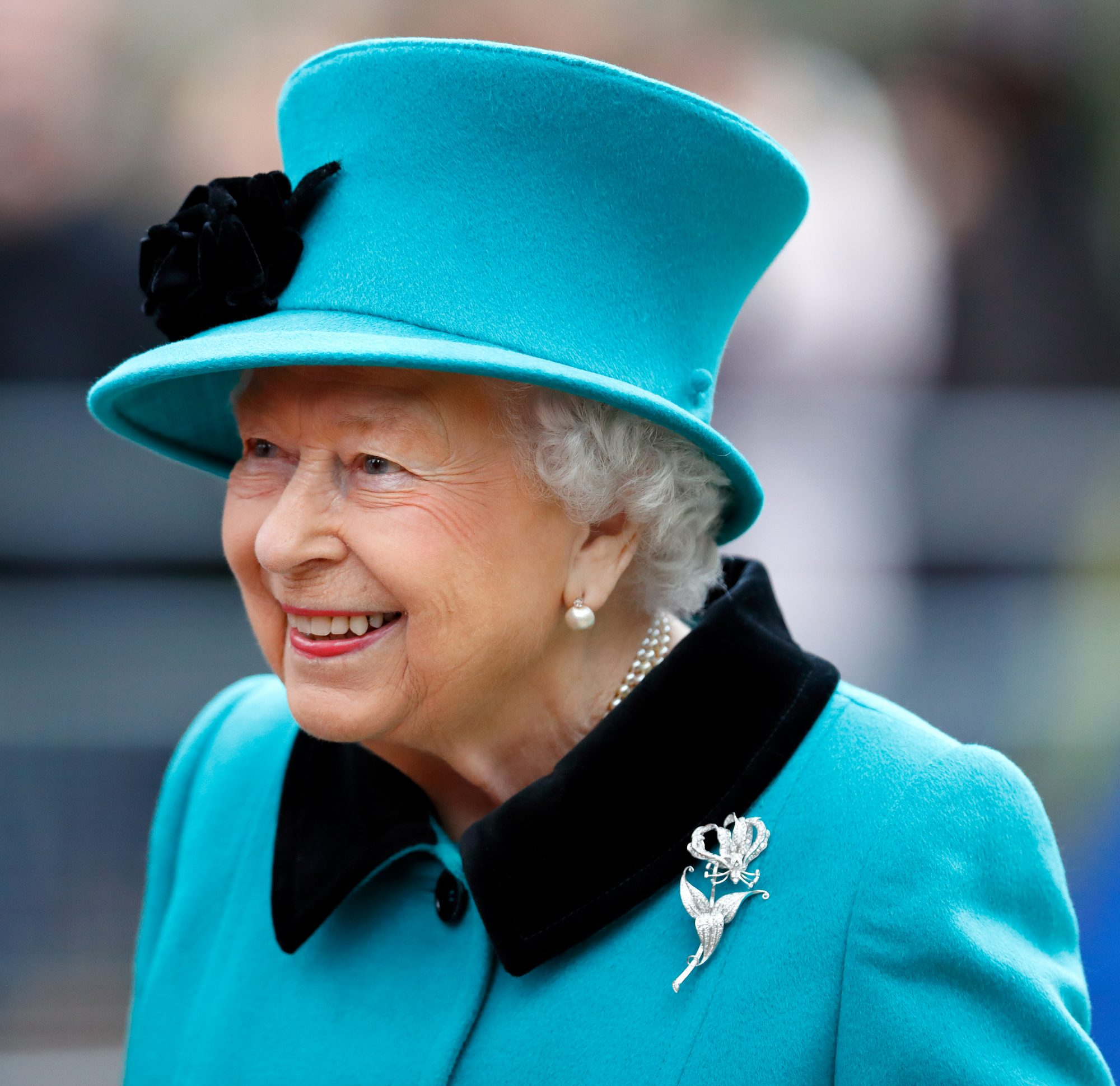 Queen Elizabeth Bright Blue Suit and Hat