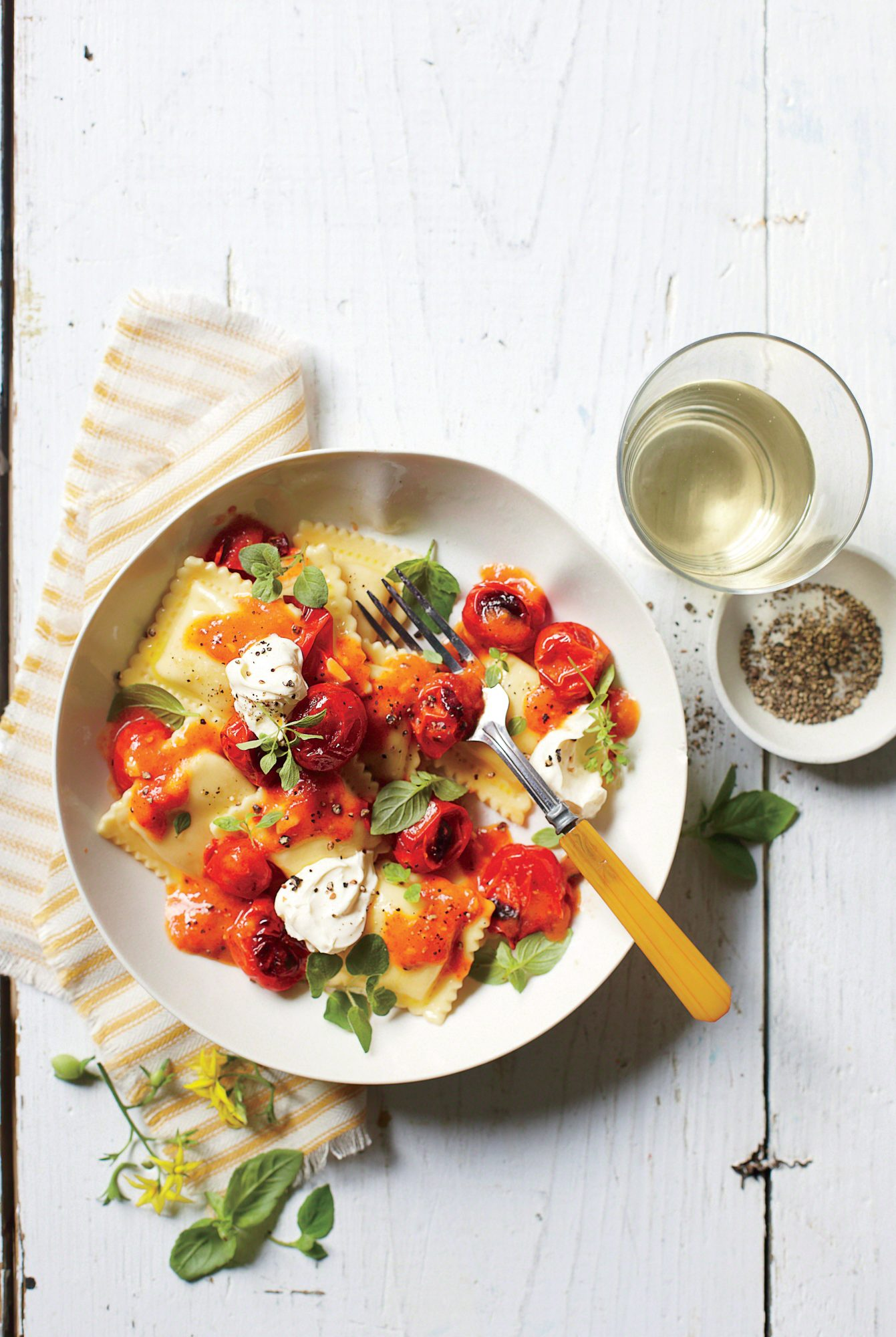 Pasta with Burst Tomatoes and Mascarpone