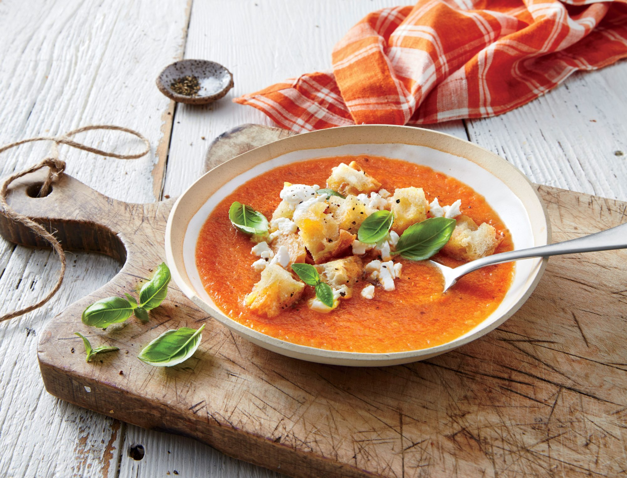 Roasted Tomato-Eggplant Soup with Garlic Croutons