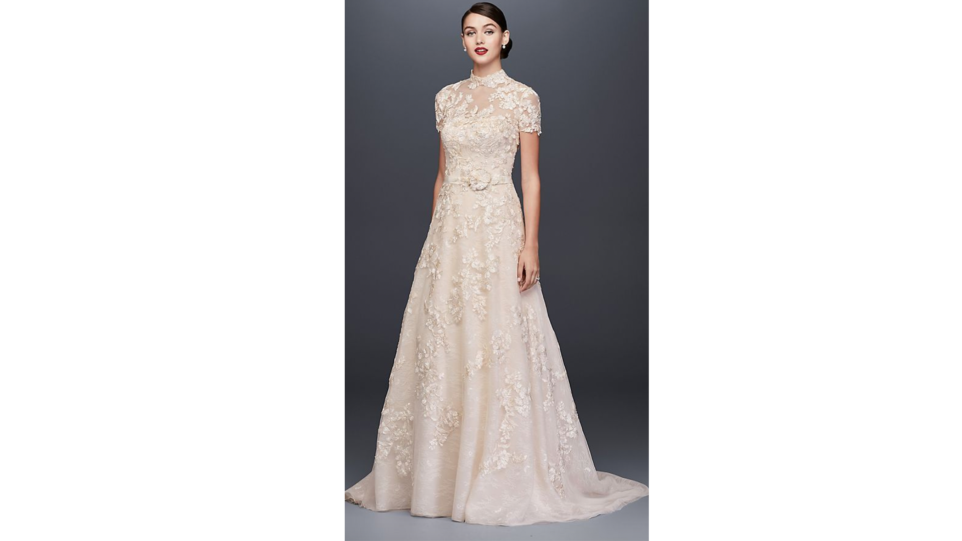 RX_1903 A-Line Wedding Dresses_Lace Appliqued A-Line Wedding Dress and Topper