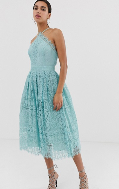 Lace Midi Dress with Pinny Bodice