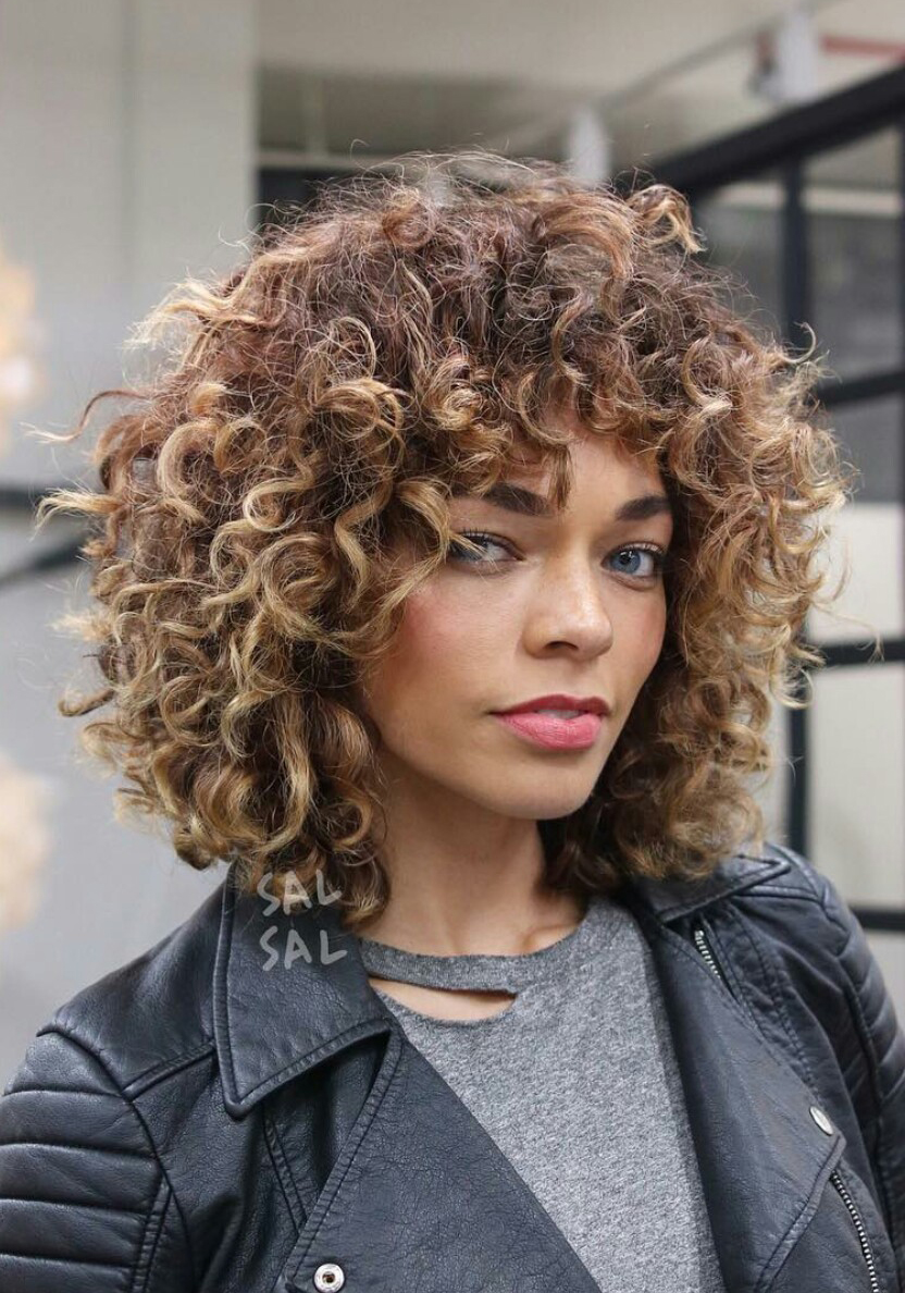Curly Cut With Baby Bangs