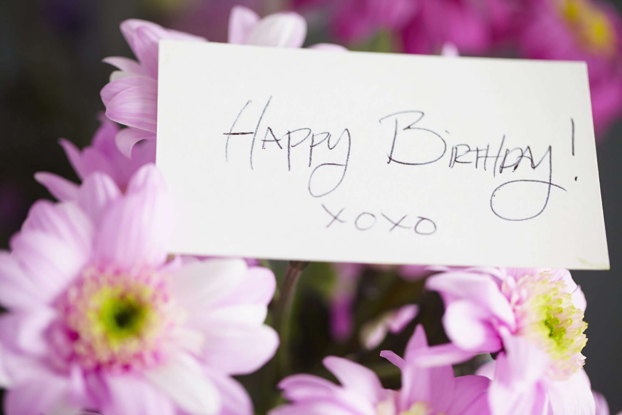Birthday Flowers and Note