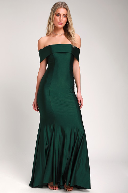 Emerald Green Off-the-Shoulder Dress