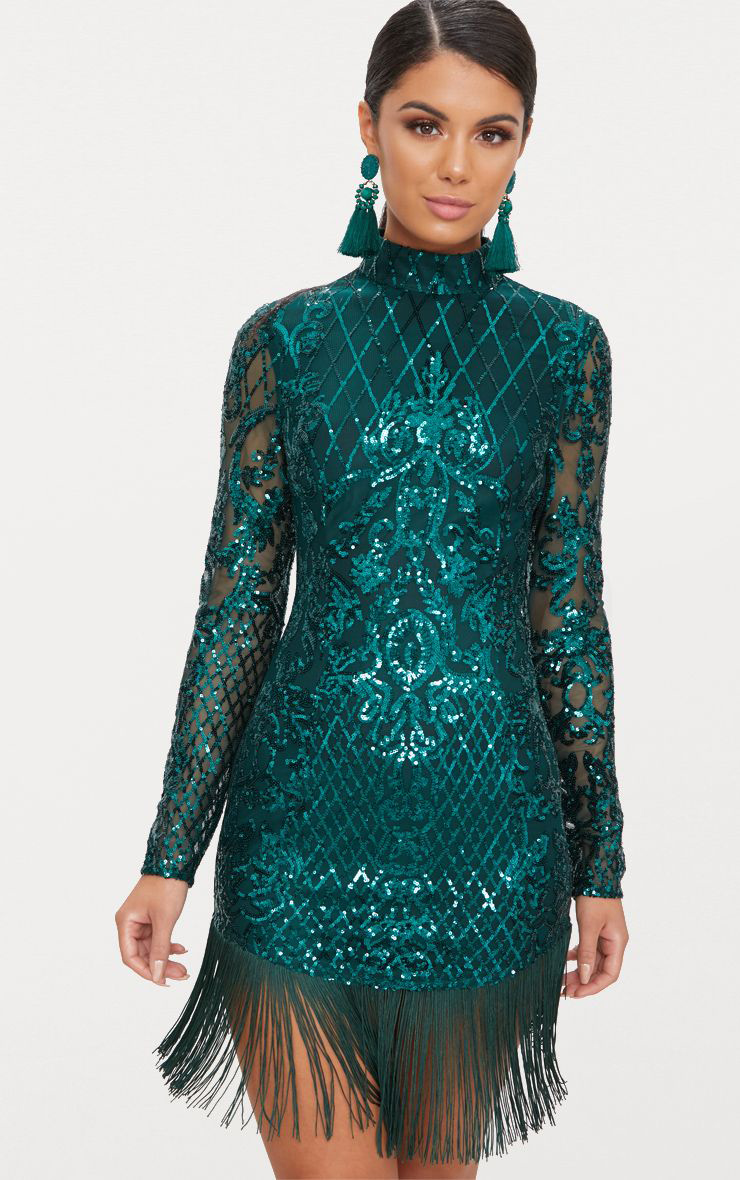 Emerald Green Tassel-Hem Dress