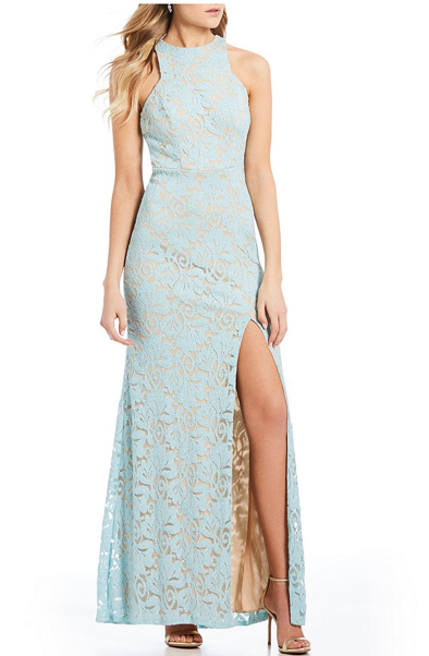 Two-Tone Lace Long Dress