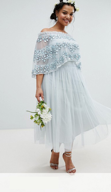 Embellished Bardot Layered Midi Dress