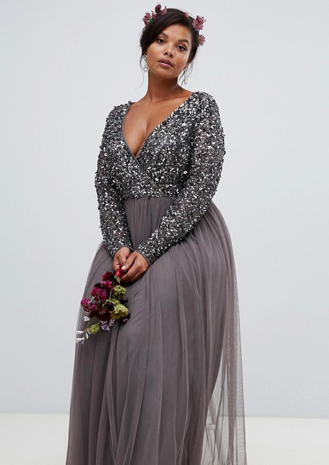 Sequin Wrap-Front Dress with Tulle Skirt