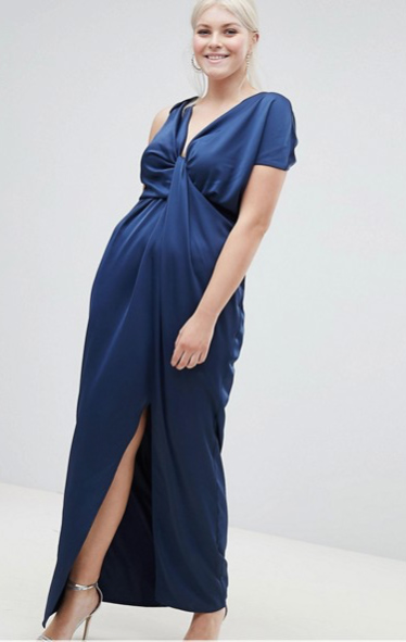 Navy Draped Satin Dress