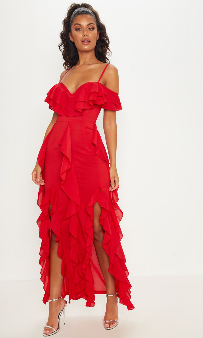 Red Cold-Shoulder Ruffled Dress