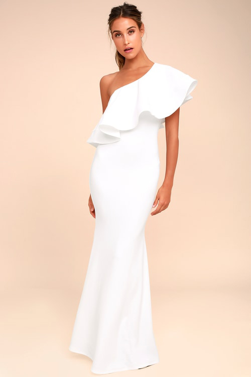 White One-Shoulder Dress