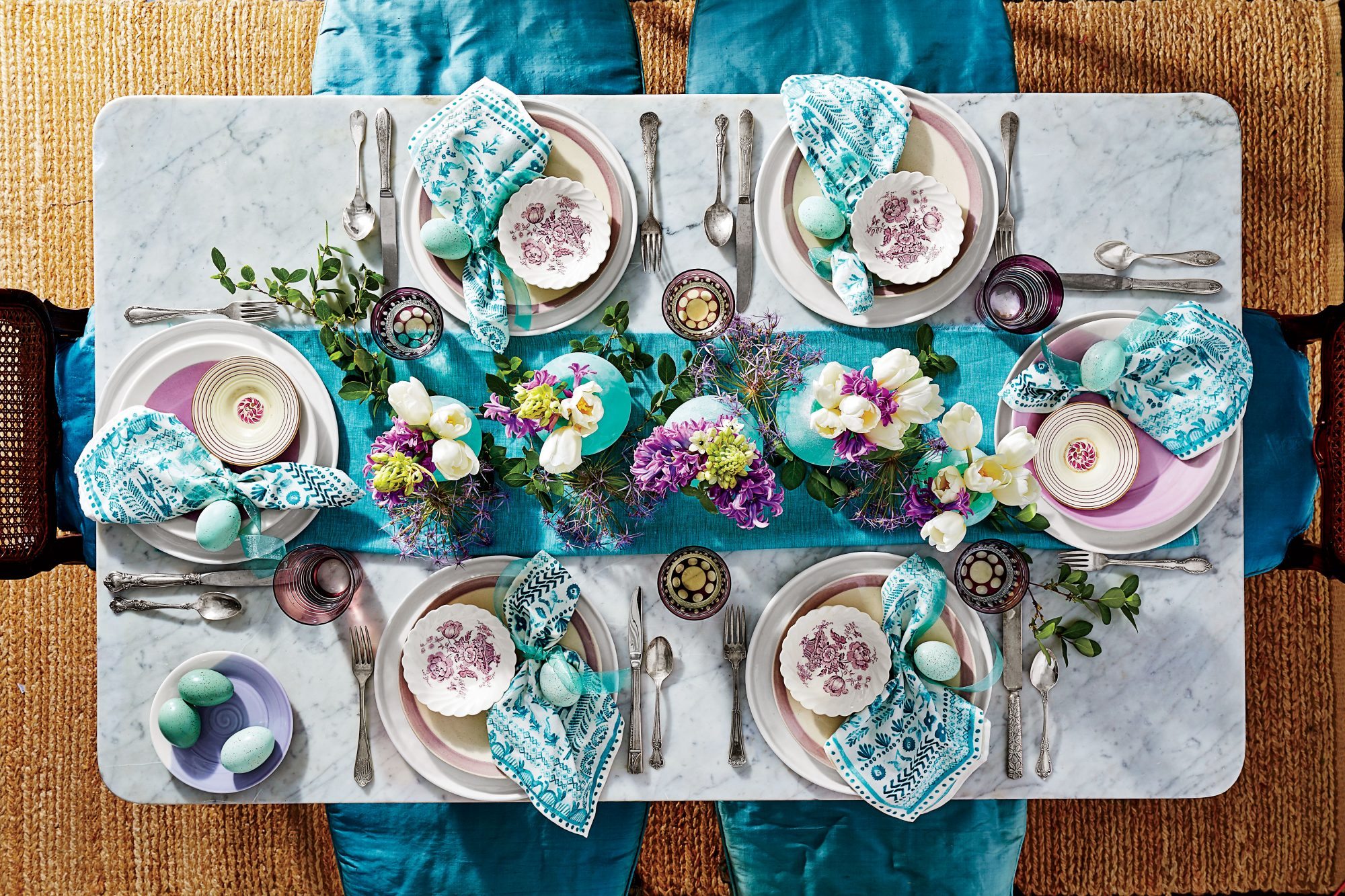 A Whimsical Purple and Teal Table