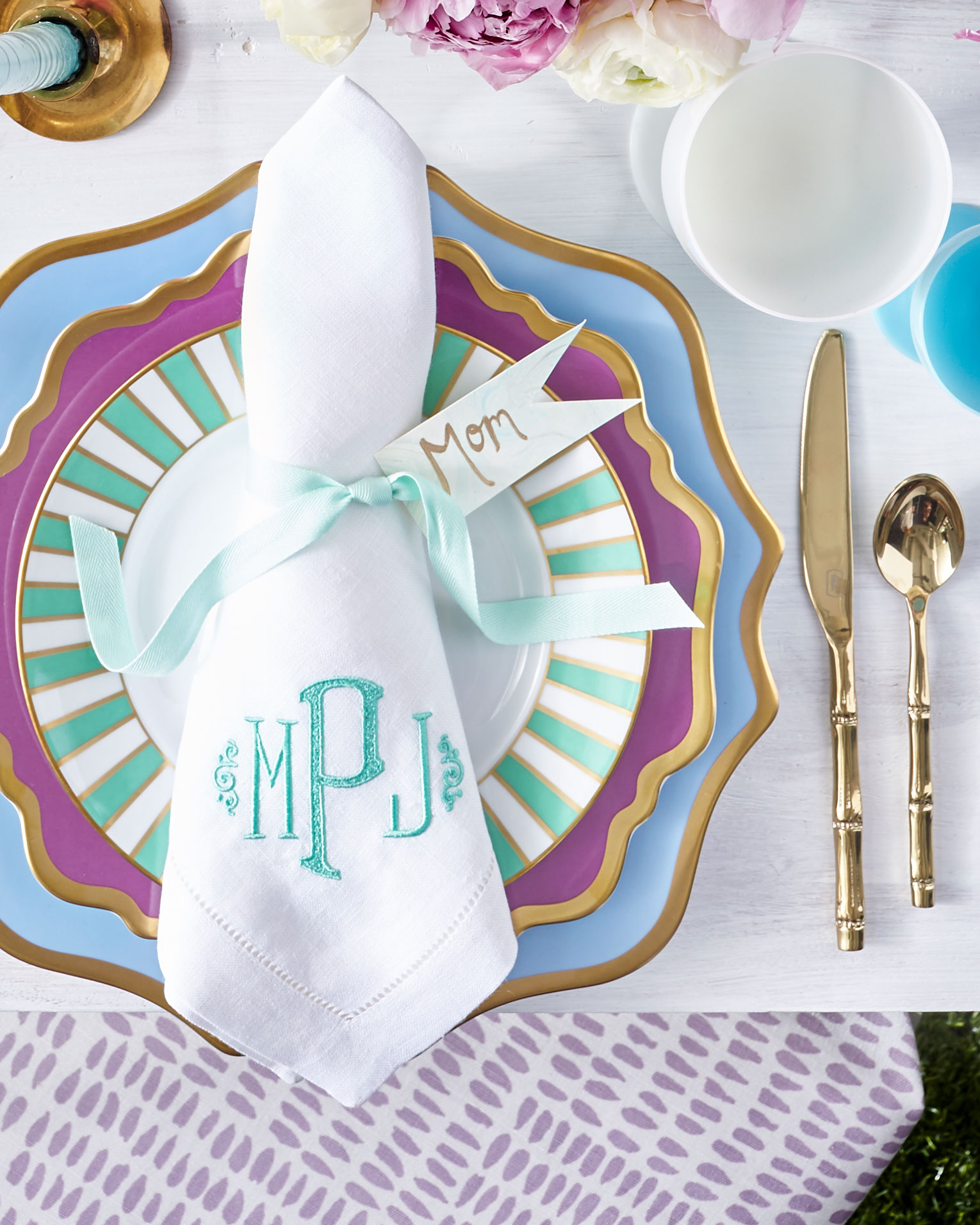 Triangle Napkin Fold with Monogram