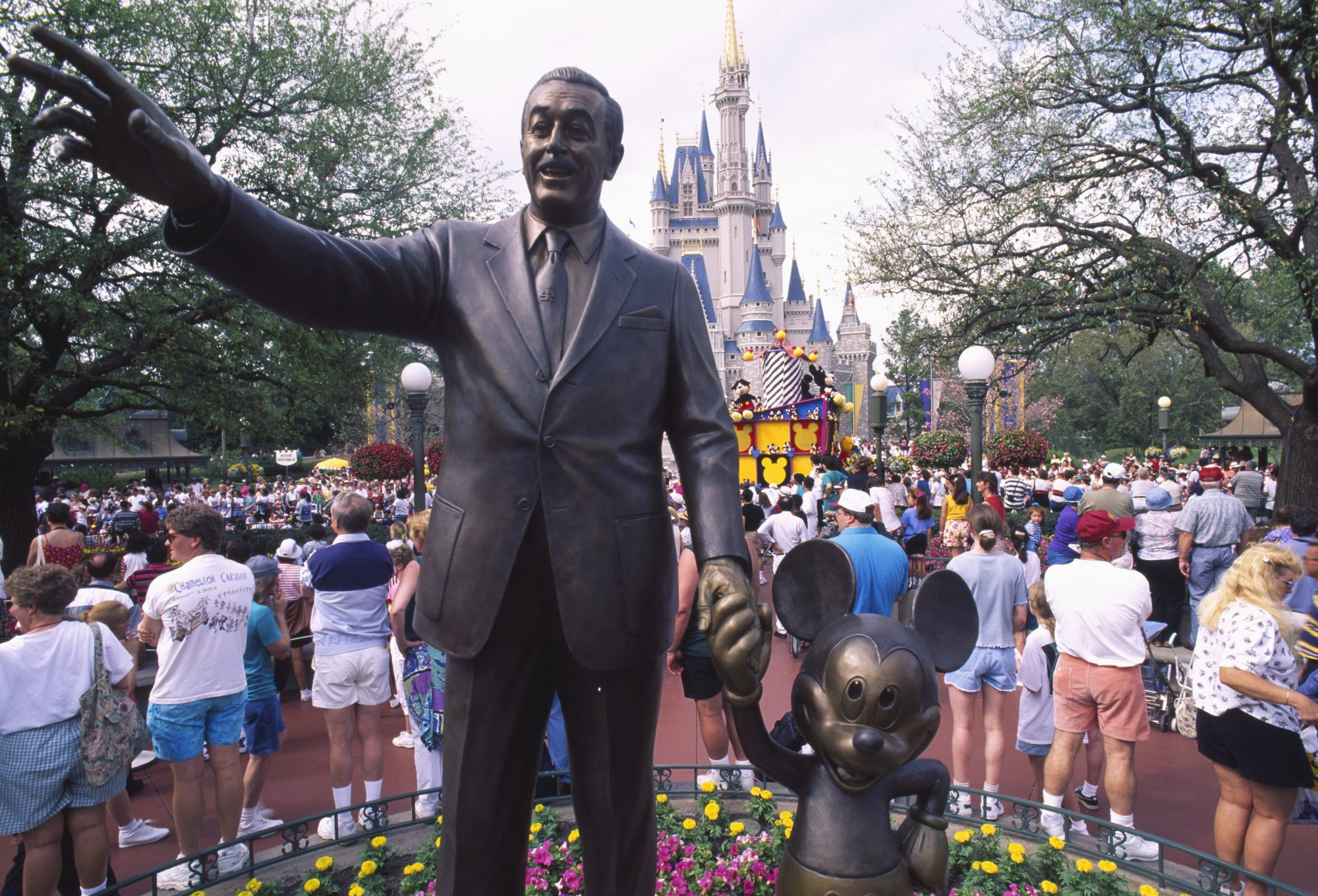 Walt Disney Statue and Castle