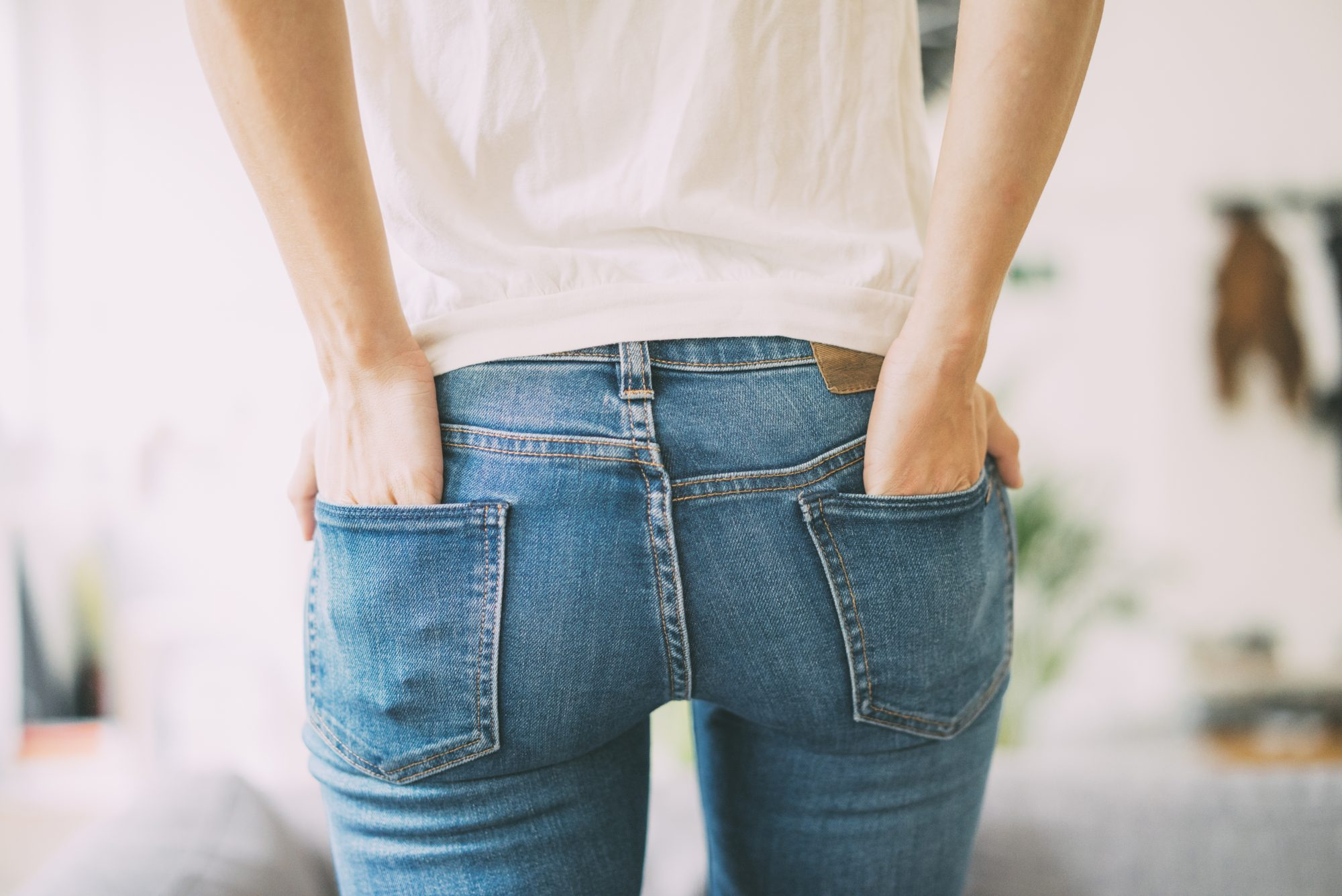 Woman with Blue Jeans from Back