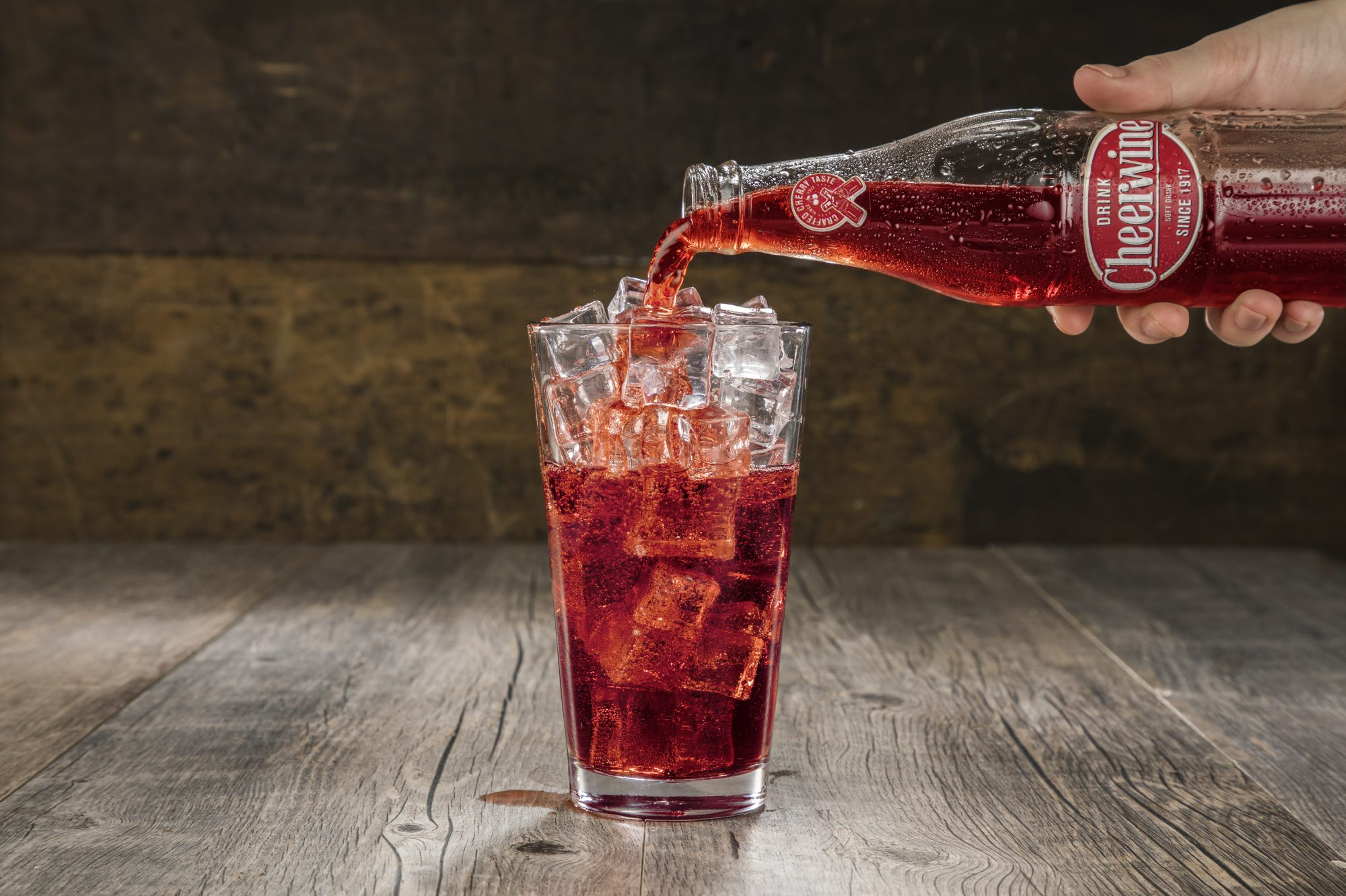 Cheerwine Bottle Pour into Glass
